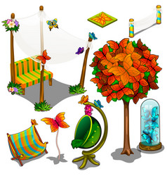 Furniture and decorations for the backyard vector