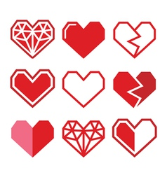 Geometric red heart for valentines day icons vector