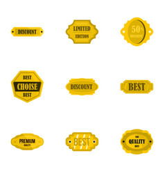 golden sale badge icons set flat style vector image