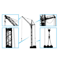 High detailed hoisting crane vector