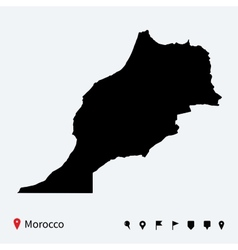 High detailed map of Morocco with navigation pins vector image