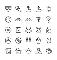 Hotel outline icons 17 vector