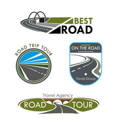 Icons set for road travel or trip company vector