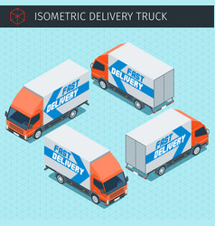 Isometric delivery truck vector