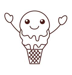 Kawaii sweet ice cream cold fresh vector