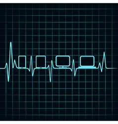 Medical technology concept -heartbeat with gadgets vector