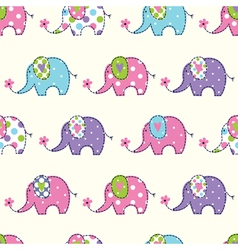 Seamless pattern with cute elephant vector image
