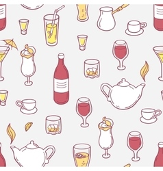 Seamless pattern with doodle drinks in vector image