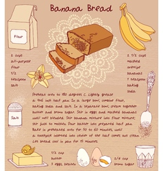 Sliced banana bread recipe vector