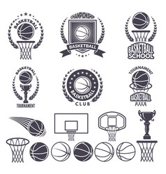 sport logos with basketball monochrome pictures vector image