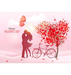 Valentines day background with a kissing couple vector