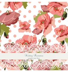 Vintage poppy flowers wedding card vector
