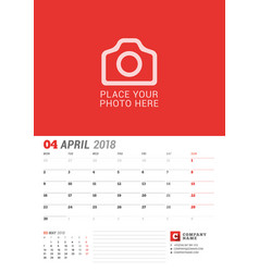 wall calendar planner for 2018 year april print vector image