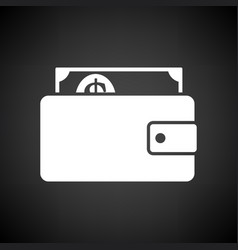 Wallet with cash icon vector
