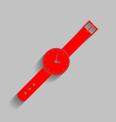 Watch sign red icon with vector