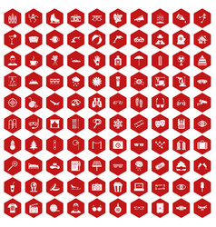 100 glasses icons hexagon red vector