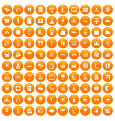 100 seaside resort icons set orange vector