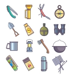 Hiking camping mountain climbing equipment vector