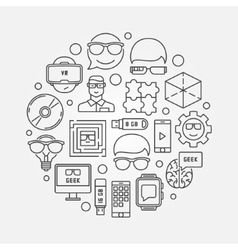 Geek outline circular vector