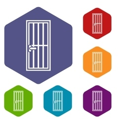 Steel door icons set vector