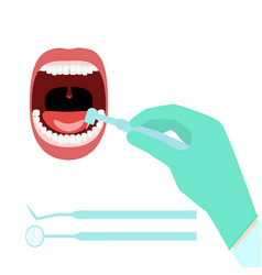Dentist hand open mouth vector