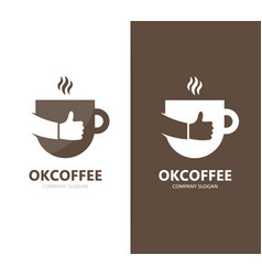 coffee and like logo combination drink vector image