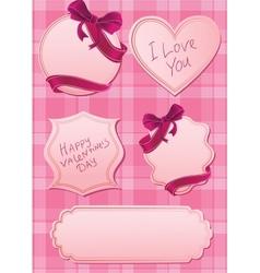 set of pink labels vector image