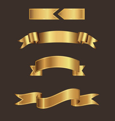 Gold ribbon banner with brown background vector