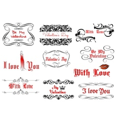 Love and valentines day headlines vector