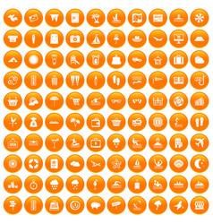 100 seaside resort icons set orange vector