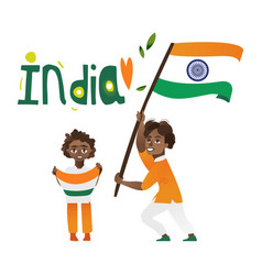Two boys kids teenagers with indian flags vector