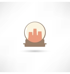 Glass sphere with city inside vector