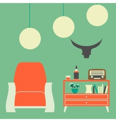 Vintage interior of 50s-60s with chair nightstand vector