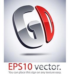 3D modern GD logo icon vector image