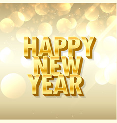 3d style happy new year lettering in golden style vector