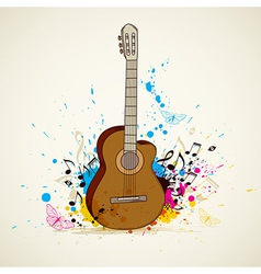 Abstract music background with guitar vector image