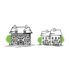 old houses vector image