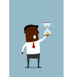 Black businessman with hourglass in hand vector