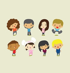 Cute cartoon boys and girls clip art vector