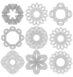 Set of nine black circular stencils vector
