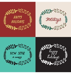 Set christmas wreath hand drawn fir tree branches vector