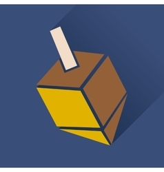 Flat icon with long shadow chanukah dreidel vector