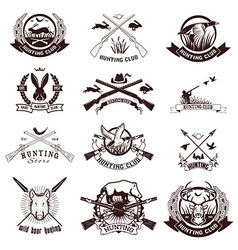 Set of hunting labels emblems and design elements vector