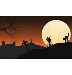 Halloween hand zombie and cat at the night vector image