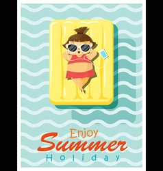 Enjoy tropical summer holiday with little girl 2 vector
