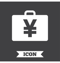 Case with yen jpy sign briefcase button vector