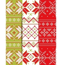 Collection of Christmas embroidery pattern vector image