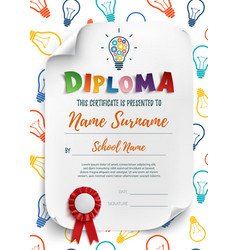Diploma template with colorful light bulbs vector