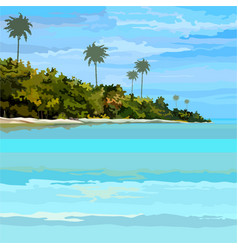 Drawn background tropical sea-coast day vector