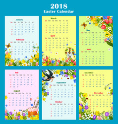 Easter year calendar template with floral decor vector